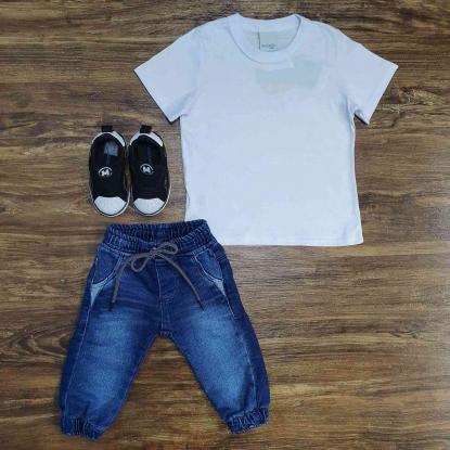 Calça Jogger Jeans com Camiseta Branca Infantil