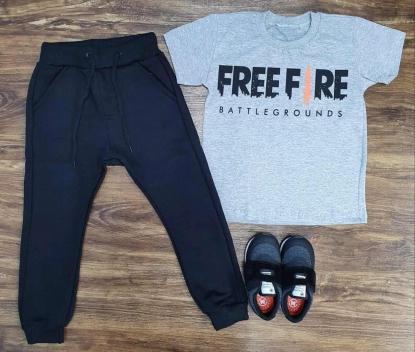 Calça Moletom com Camiseta Free Fire Infantil