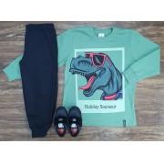 Calça Moletom com Camiseta Holiday Souvenir Infantil