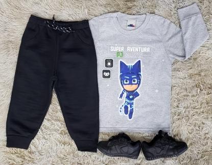 Calça moletom Preta com Camiseta PJ Masks