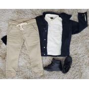 Calça Jogger com Camisa e Jaqueta Jeans Preta Infantil