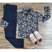 Calça Preta com Camisa Social Preta Floral Infantil