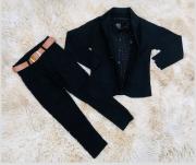 Calça Preta com Camisa Social Preta Poá e Blazer Preto