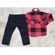 Calça Jeans Preta com Camisa Xadrez Infantil