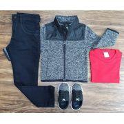 Calça Preta com Camiseta e Jaqueta Cinza Infantil
