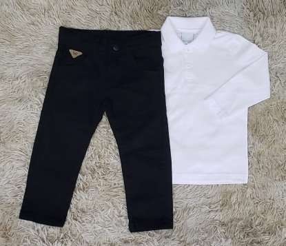 Calça Preta com Polo Manga Longa Branca