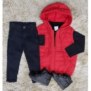 Calça Jeans Preta com Polo e Colete Moletom Infantil