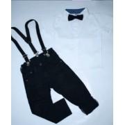 Calça Preta com Suspensório e Camisa Branca com Gravata