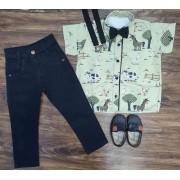 Calça Preta com Suspensório e Camisa Fazendinha com Gravata