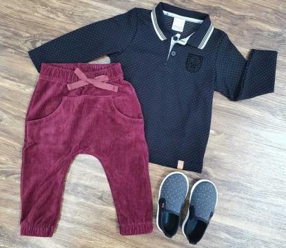 Calça Saruel com Camisa Polo Manga Longa