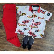 Calça Jeans Vermelha com Camisa Hot Wheels Infantil