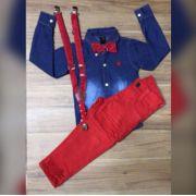 Calça Vermelha com Suspensorio e Camisa Jeans Com Gravata