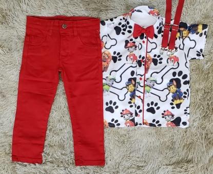 Conjunto Calça Patrulha Canina Vermelho Infantil
