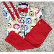Calça Vermelha com Suspensório e Camisa Turma da Mônica com Gravata