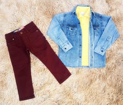 Calça Vinho com Polo Amarela e Camisa Jeans