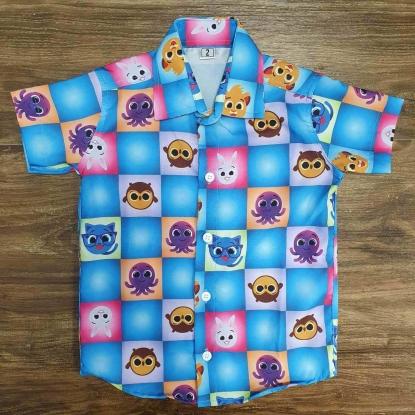Camisa Azul Bolofofos Infantil
