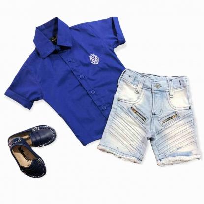 Camisa Azul com Bermuda Jeans Clara Infantil