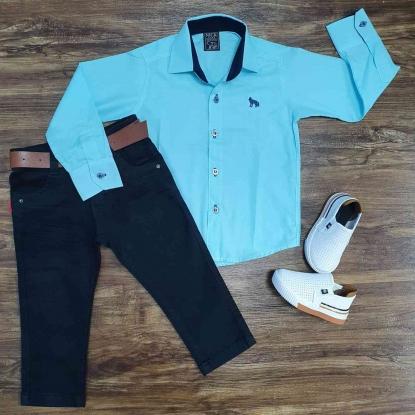 Camisa Azul Lisa com Calça Jeans Preta Infantil