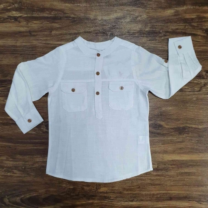 Camisa Bata Branca Manga Longa Infantil