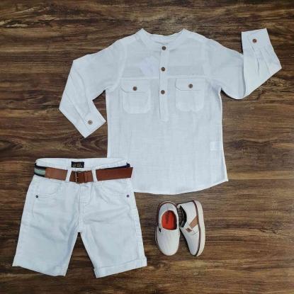 Camisa Bata Manga Longa com Bermuda Branca Infantil