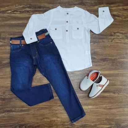 Camisa Bata Manga Longa com Calça Jeans Infantil