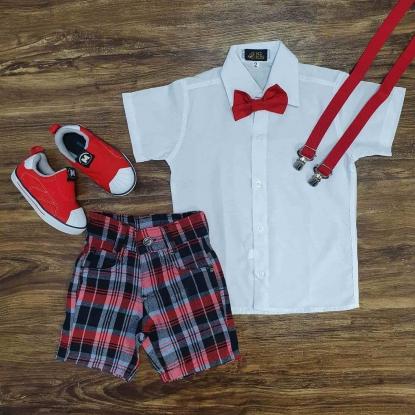 Camisa Branca com Bermuda Xadrez Infantil