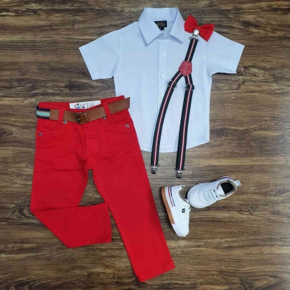 Camisa Branca com Calça Vermelha Infantil