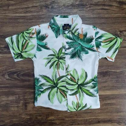 Camisa Branca e Verde Floral Infantil