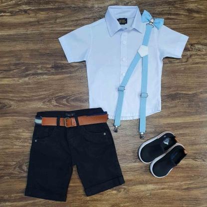 Camisa Branca Manga Curta com Bermuda Preta Infantil