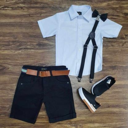 Camisa Branca Social com Bermuda Preta Infantil