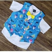 Camisa com Colete Baby Shark e Gravata