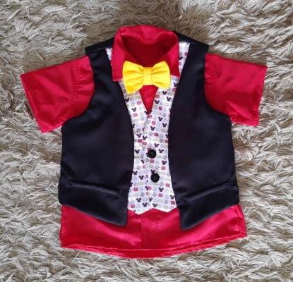 Camisa com Gravata e Colete Mickey