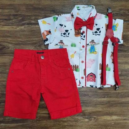 Camisa Fazendinha com Bermuda Vermelha Infantil