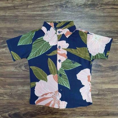Camisa Floral Azul com Folhas Rosas Infantil