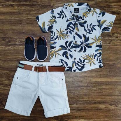 Camisa Floral com Bermuda Branca Infantil