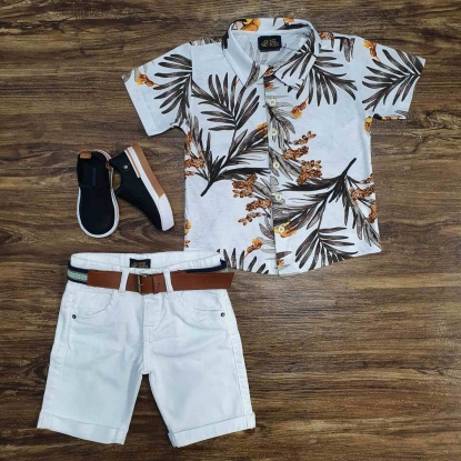 Camisa Floral com Bermuda Jeans Branca Infantil