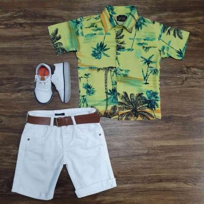 Camisa Floral Coqueiros com Bermuda Branca Infantil