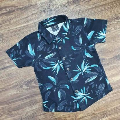Camisa Floral Preta com Azul Infantil