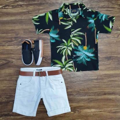 Camisa Floral Preta com Bermuda Infantil
