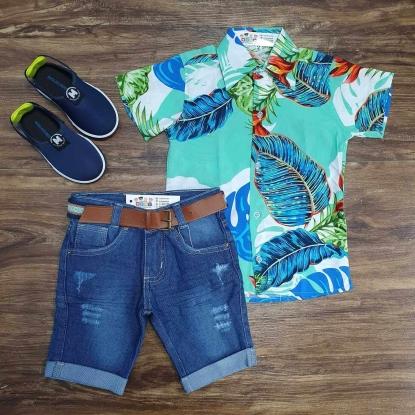 Camisa Floral Verde com Calça Jeans Infantil