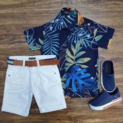 Camisa Folhas Azul Marinho com Bermuda Jeans Infantil