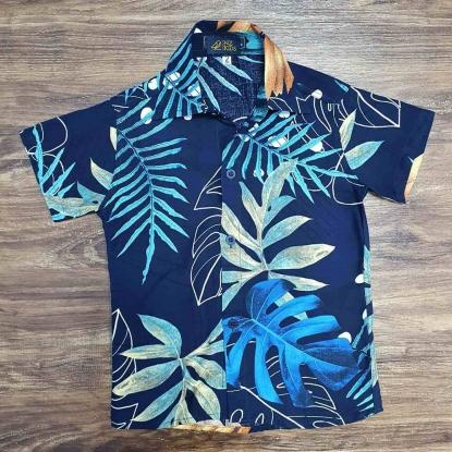 Camisa Folhas Azul Marinho Infantil