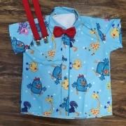 Camisa Galinha Pintadinha com Suspensorio e Gravata