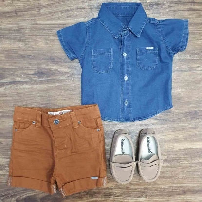 Camisa Jeans com Bermuda Caramelo Infantil