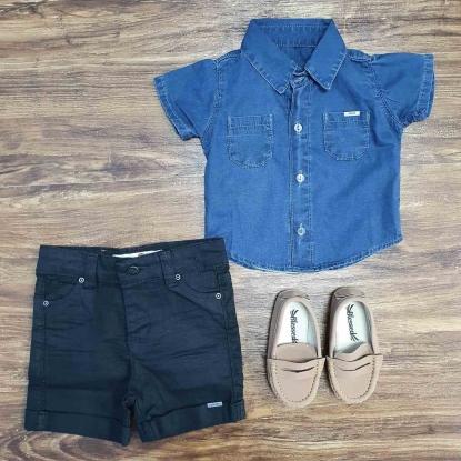 Camisa Jeans com Bermuda Preta Infantil