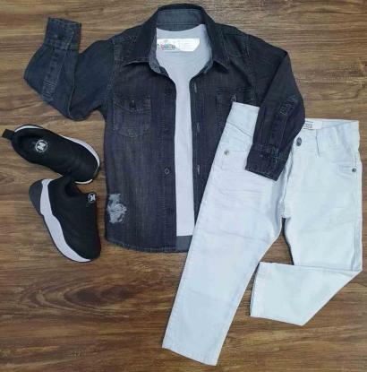 Camisa Jeans com Camiseta e Calça Jeans Branca Infantil