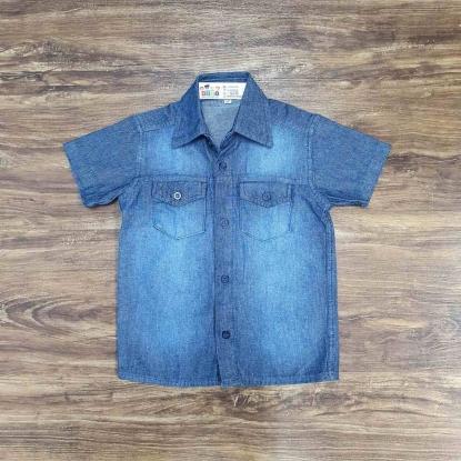 Camisa Jeans Manga Curta com Bolso Infantil