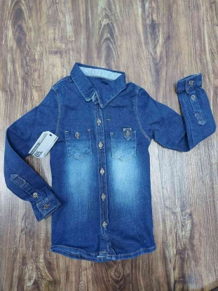 Camisa Jeans Manga Longa Escura Infantil