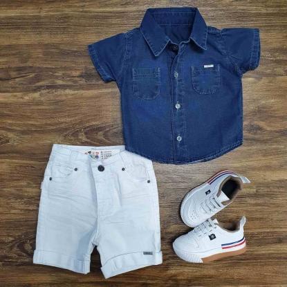 Camisa Jeans com Bermuda Branca Infantil