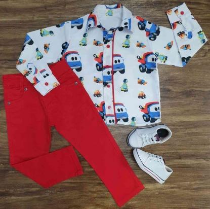 Camisa Léo O Caminhão com Calça Vermelha Infantil